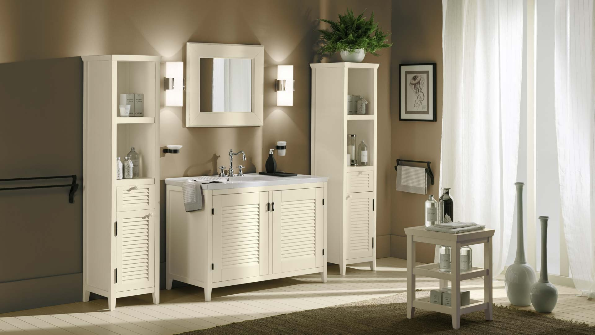 Bathroom furniture made with solid wood Ciro - Cantori
